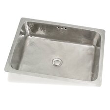 "Cuisine 19.7"" x 13.8"" Lisa Rectangle Hand-Hammered Kitchen Sink"