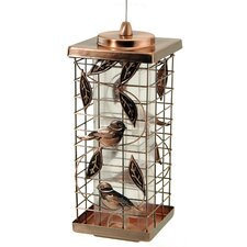 2 Port Copper Caged Bird Feeder