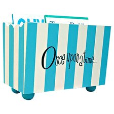 """Once Upon a Time"" Stripe Hand Painted 10.5"" Book Storage"