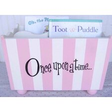 """Once Upon a Time"" Pink Stripe Hand Painted Book Holder"