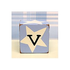 """v"" Letter Block in Blue"