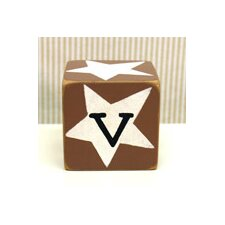 """v"" Letter Block in Chocolate"