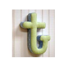 """t"" Fabric Letter in Blue / Green"