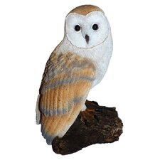 Barn Owl On Stump Resin Statue