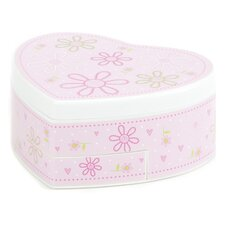 Ruby Girl's Glitter-Daisy Heart-Shaped Musical Ballerina Jewelry Box