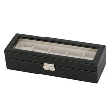 Lewis Men's Faux Leather Glass Top Watch Box