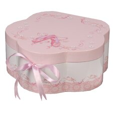 Ella Girl's Wooden Musical Ballerina Jewelry Box with Fashion Paper Overlay