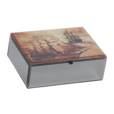 <strong>Mele & Co.</strong> Leonardo Mirrored Glass Jewelry Box with Nautical Design