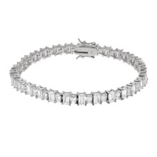 Sterling Silver with Emerald Cut CZ Tennis Bracelet