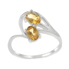 Sterling Silver Two Oval Citrine Ring