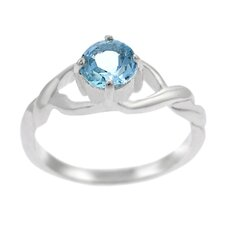 Sterling Silver Twisted Band with Round Blue Topaz Ring