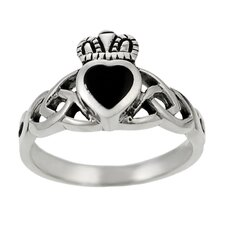 Sterling Silver Claddagh Ring with Black Onyx