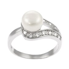 Sterling Silver Ring with Cultured Pearl and CZ Accents