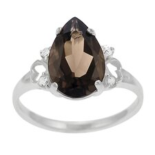 Sterling Silver Pear-cut Smoky Quartz and CZ Ring