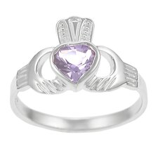 Sterling Silver with Amethyst Claddagh Ring