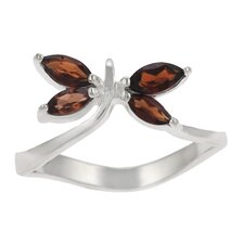 Sterling Silver Garnet Dragonfly Wavy Band Ring