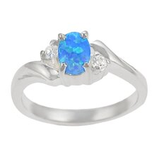 Sterling Silver CZ with Oval Blue Opal Center Ring