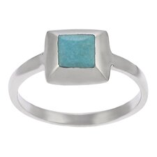 Sterling Silver Square with Turqoise Center Ring