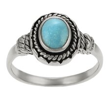 Sterling Silver Rope Turquoise Ring