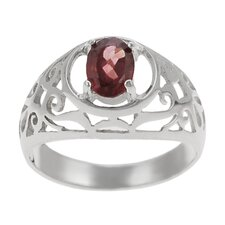 Sterling Silver Genuine Garnet with Filigree Ring