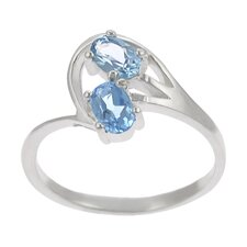 Sterling Silver Genuine Blue Topaz Two Oval Cut Stone Ring