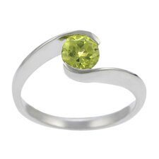 Sterling Silver Genuine Peridot Round Cut Solitaire Ring