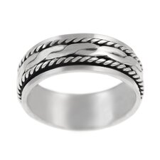 Sterling Silver Twist Design Spinner Ring