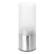 Faro Stainless Steel and Frosted Glass Hurricane