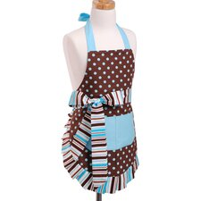 Girl's Apron in Blue/Chocolate