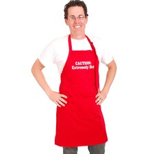 "Men's ""Caution Extremely Hot"" Apron in Red"