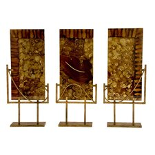 Handmade Glass Sculptural Panels with Iron Stands in Autumn (Set of 3)