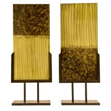 Handmade Sculptural Panels with Iron Stands in Beige and Caramel (Set of 2)