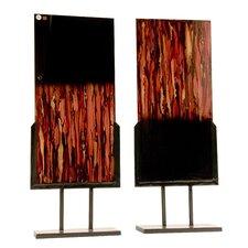 2 Piece Handmade Blown Glass Panel Sculpture Set