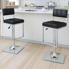 Square Tufted Adjustable Bar Stool (Set of 2)