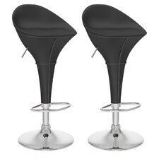 Round Styled Adjustable Height Bar Stool (Set of 2)