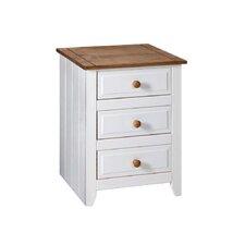 Capri 3 Drawer Bedside Table