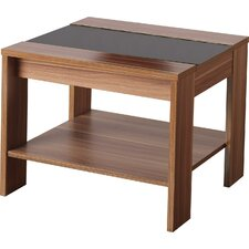 Hollywood Shearwater Lamp Table in Walnut Veneer and Black Gloss