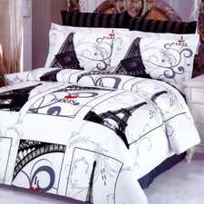 Eiffel Gray 6 Piece Full / Queen Duvet Cover Set