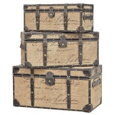 3 Piece French Script Trunk Set