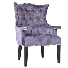 Fifth Avenue Eggplant Velvet Arm Chair with Nailhead Trim