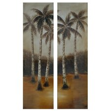 Palm Trees in the Distance Oil 2 Piece Painting Print on Canvas Set (Set of 2)