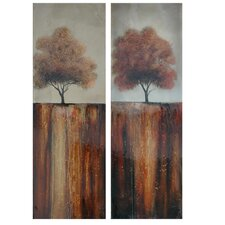 Fall Day Stretched Canvas High Gloss Oil 2 Piece Painting Print on Canvas Set (Set of 2)
