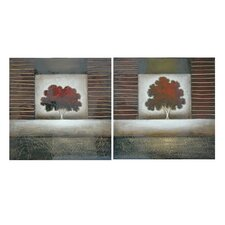 "Autumn Perfection Stretched Canvas High Gloss Oil Painting 40"" x 40"" (Set of 2)"
