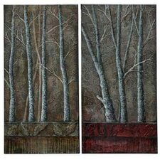 Trees Stretched 2 Piece Painting Print on Canvas Set (Set of 2)