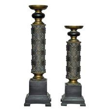 French Fleur Resin Candlesticks (Set of 2)