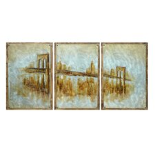 """Bridge In a Blue Haze-Impressionistic View"" 3 Peice Painting Print on Canvas Set (Set of 3)"
