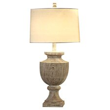 "Avalon Carved 34.5"" H Table Lamp with Drum Shade"