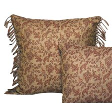 <strong>Belle Epoque</strong> Vine Floral Wool Toss Pillow with Hand Knotted Fringe