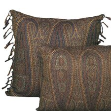 <strong>Belle Epoque</strong> Tear Drop Paisley Wool Toss Pillow with Hand Knotted Fringe
