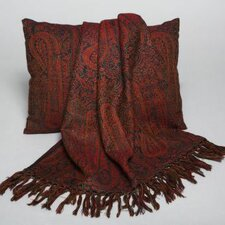 <strong>Belle Epoque</strong> Jamavaar Paisley Wool Throw with Fringe